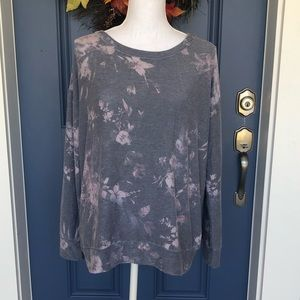NWT Chaser Gray Floral Sweatshirt Size Large